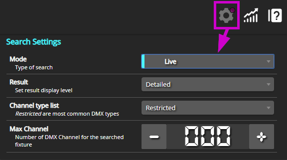 Set Search mode to Live